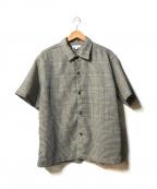 BEAUTY&YOUTH(ビューティアンドユース)の古着「カラミ チェック ワイドフォルム キャンプカラー シャツ」 グレー