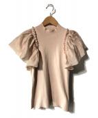 ()の古着「シアーギャザースリーブニットプルオーバー」|ピンク