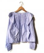 MACPHEE(マカフィー)の古着「コットンピンヘッド ラッフルフリルブラウス」|ブルー