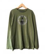 HUNTING WORLD(ハンティングワールド)の古着「バンダナ柄ピースマークプリントカットソー」|グリーン