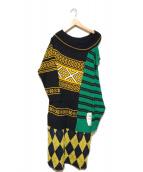 ()の古着「COMBINED DRESS/コンバインドドレス」 グリーン×ネイビー