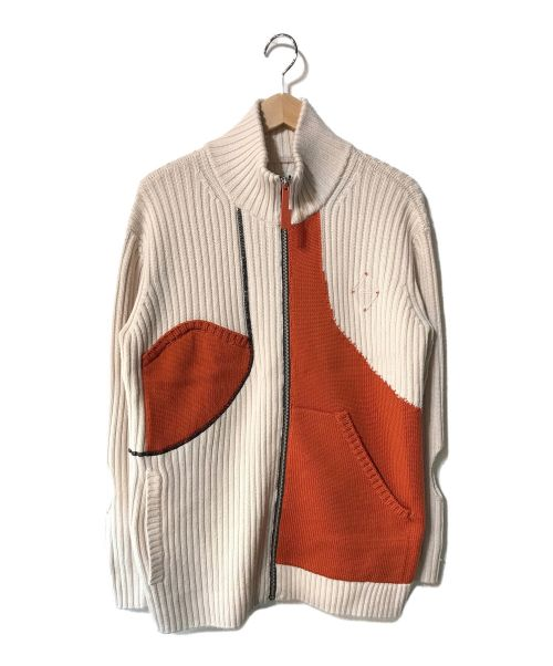 A-COLD-WALL(アコールドウォール)A-COLD-WALL (アコールドウォール) カラーブロック ジップアップ カーディガン アイボリー×オレンジ サイズ:Sの古着・服飾アイテム