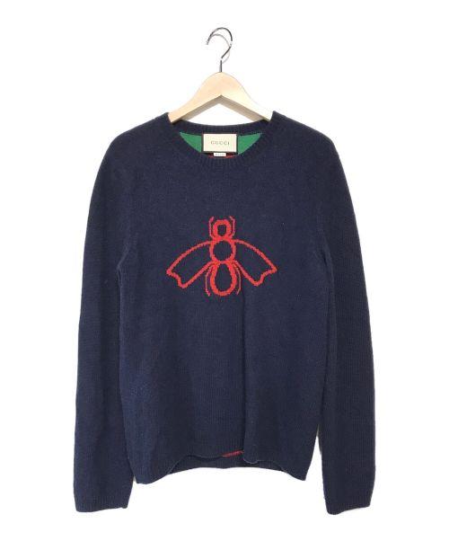 GUCCI(グッチ)GUCCI (グッチ) ビー&ウェブジャガードウールーセーター ネイビー サイズ:Sの古着・服飾アイテム