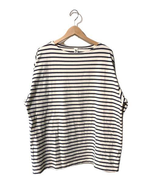 LE(エルイー)LE (エルイー) バスクシャツ ホワイト×ネイビー サイズ:Lの古着・服飾アイテム