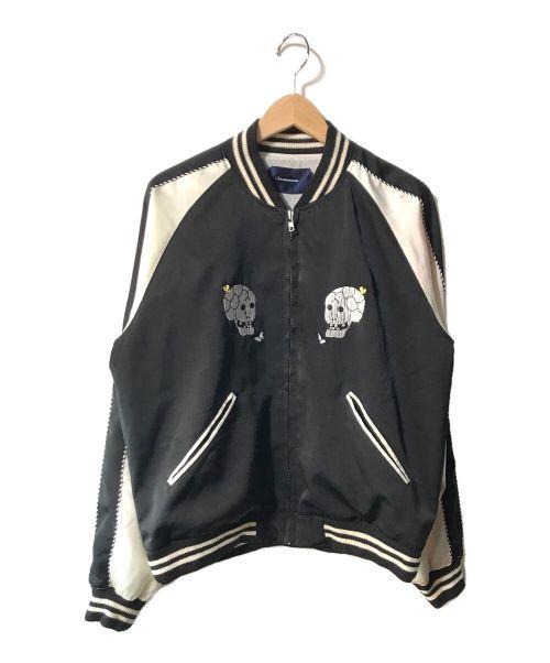 JohnUNDERCOVER(ジョンアンダーカバー)JohnUNDERCOVER (ジョンアンダーカバー) スカル刺繍スカジャン ブラック サイズ:2の古着・服飾アイテム