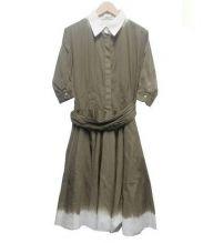 PRADA(プラダ)の古着「フレアシャツワンピース」|カーキ×ホワイト