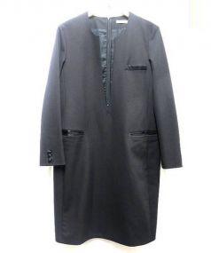 CINOH(チノ)の古着「Vネックロングワンピ」 ブラック
