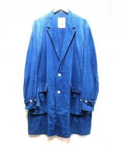 Black & Blue(ブラック&ブルー)の古着「藍染チェスターコート」|インディゴ