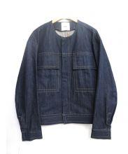CLANE HOMME(クラネ オム)の古着「ノーカラーコクーンデニムジャケット」|インディゴ