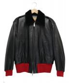 calvin klein 205W39NYC(カルバンクライン205W39NYC)の古着「レザーボンバージャケット」|ブラック×レッド