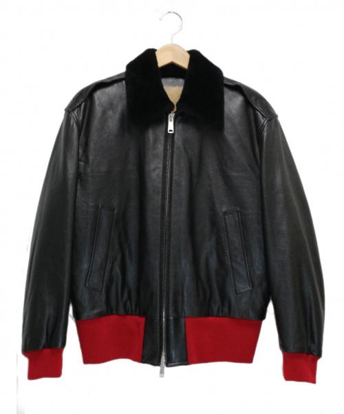 CALVIN KLEIN 205W39NYC(カルバンクライン)calvin klein 205W39NYC (カルバンクライン205W39NYC) レザーボンバージャケット ブラック×レッド サイズ:36 Leather Bomber Jacket 17AW 1577-343-4341の古着・服飾アイテム