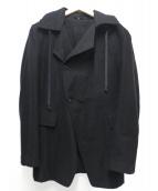 ANN DEMEULEMEESTER(アンドゥムルメステール)の古着「フーデッドダブルコート」 ブラック