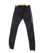 MR.COMPLETELY(ミスターコンプリートリー)の古着「シワ加工カットオフデニムパンツ」|ブラック