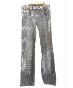 D&G(ディーアンドジ)の古着「ダメージ加工ペイントデニムパンツ」|グレー