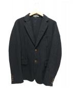 COMME des GARCONS HommePlus(コムデギャルソンオムプリュス)の古着「ポリ縮ストライプジャケット」|ブラック