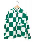 COMME des GARCONS HommePlus(コムデギャルソンオムプリュス)の古着「ブロックチェックシャツ」|ホワイト×グリーン