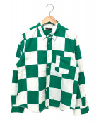 COMME des GARCONS HommePlus(コムデギャルソンオムプリュス)の古着「ブロックチェックシャツ」 ホワイト×グリーン