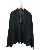 Y's(ワイズ)の古着「ウールギャバデザインスリーブジャケット」|ブラック