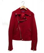 Y's PINK(ワイズピンク)の古着「ウールライダースジャケット」|レッド