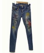 Hysteric Glamour(ヒステリックグラマ)の古着「ペイントデニムパンツ」 インディゴ