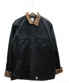 BEDWIN &THE HEARTBREAKERS(ベドウィンドアンドザ ハートブレイカーズ)の古着「レオパードカラーワークシャツ」|ブラック