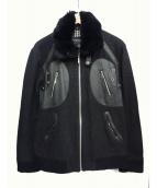BURBERRY BLACK LABEL(バーバリーブラックレーベル)の古着「レザー切替ファーブルゾン」|ブラック