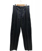 YohjiYamamoto pour homme(ヨウジヤマモトプールオム)の古着「ストライプワイドパンツ」 ネイビー
