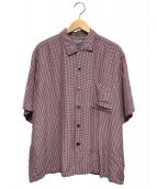 COMME des GARCONS HOMME(コムデギャルソンオム)の古着「半袖レーヨンシャツ」|レッド