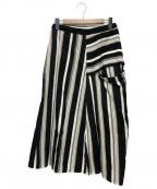 Y's(ワイズ)の古着「ストライプデザインスカート」|ブラック×ベージュ