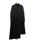 Yohji Yamamoto pour homme(ヨウジヤマモトプールオム)の古着「ウールギャバスタンドファスナーコート」|ブラック