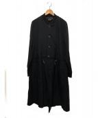 COMME des GARCONS Homme Plus(コムデギャルソンオムプリュス)の古着「ポリ縮刺繍ロングジャケット」|ブラック