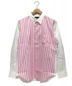 COMME des GARCONS Homme Plus(コムデギャルソンオムプリュス)の古着「切替シャツ」|ホワイト×ピンク