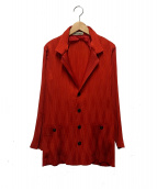 ISSEY MIYAKE(イッセイミヤケ)の古着「アーガイルプリーツジャケット」|レッド