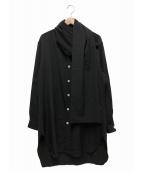 Yohji Yamamoto pour homme(ヨウジヤマモトプールオム)の古着「シワギャバストールシャツ」|ブラック