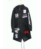 Danke schon(ダンケシェーン)の古着「パッチフィッシュテールコート」|ブラック