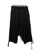 Yohji Yamamoto pour homme(ヨウジヤマモトプールオム)の古着「シワギャバサルエルパンツ」|ブラック