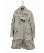 ISSEY MIYAKE(イッセイミヤケ)の古着「ロングダブルライダースジャケット」|ホワイト