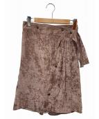 ISSEY MIYAKE(イッセイミヤケ)の古着「ベロアスカート」|ピンク