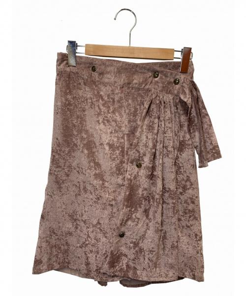 ISSEY MIYAKE(イッセイミヤケ)ISSEY MIYAKE (イッセイミヤケ) ベロアスカート ピンク サイズ:S IM71FG003 2017SSの古着・服飾アイテム