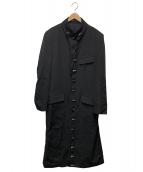 YohjiYamamoto pour homme(ヨウジヤマモトプールオム)の古着「トグロデザインウールギャバロングコート」 ブラック