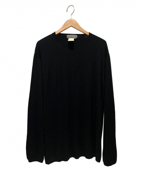 YohjiYamamoto pour homme(ヨウジヤマモトプールオム)YohjiYamamoto pour homme (ヨウジヤマモトプールオム) シルク混ニット ブラックネイビー サイズ:3 HQ-K74-982の古着・服飾アイテム