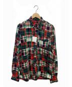 ()の古着「パッチワークフランネルシャツ」|レッド