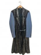 COMME des GARCONS HommePlus(コムデギャルソンオムプリュス)の古着「ラメロングジャケット」|シルバー×ブルー