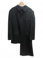 YohjiYamamoto pour homme(ヨウジヤマモトプールオム)の古着「K-アンバランスチャイナシワギャバロングコート」|ブラック