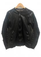 ISAMU KATAYAMA BACKLASH(イサムカタヤマ バックラッシュ)の古着「ジャパンショルダー製品染レザージャケット」|ブラック