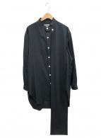 YohjiYamamoto pour homme(ヨウジヤマモトプールオム)の古着「左肩シワギャバストールシャツ」|ブラック