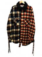 FACETASM(ファセッタズム)の古着「再構築チェックシャツ」|ブラウン