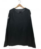 B Yohji Yamamoto(ビーヨウジヤマモト)の古着「5G4plyBBB刺繍丸首ニット」 ブラック