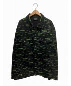 PLEASURES(プレジャーズ)の古着「リジェクトトラッカージャケット」|ブラック×グリーン