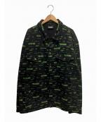 PLEASURES(プレジャーズ)の古着「リジェクトトラッカージャケット」 ブラック×グリーン